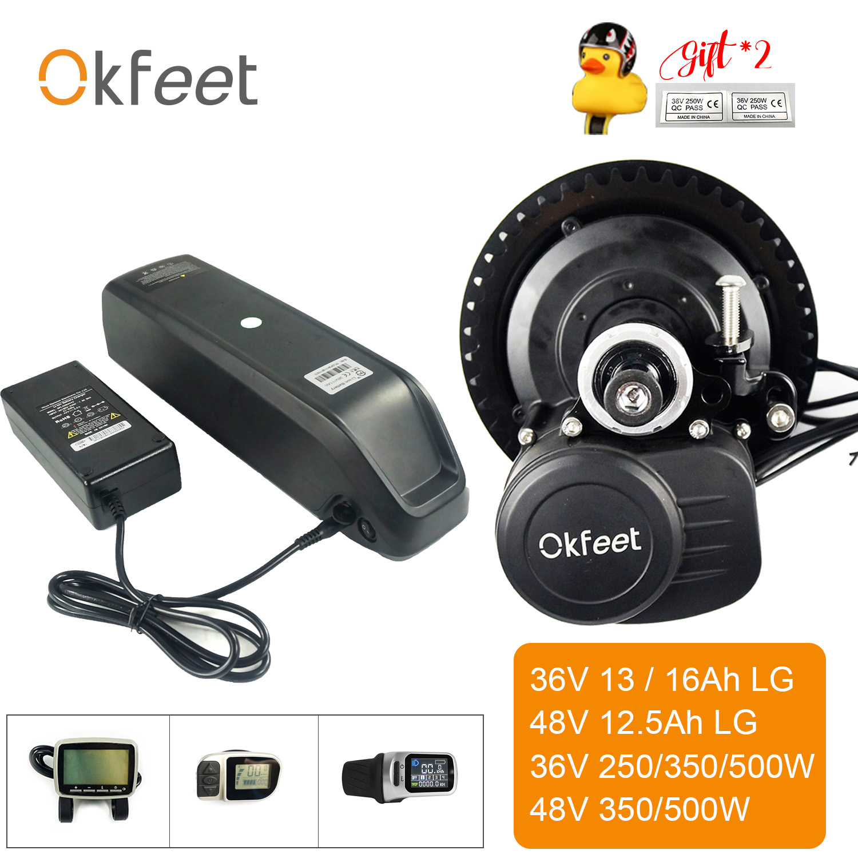 Okfeet Ebike Kit Con Batteria 36V 250 W/350 W/500 W 48V 500W TSDZ2 midmotor Motore Con XH18 VLCD5 VLCD6 Display LCD