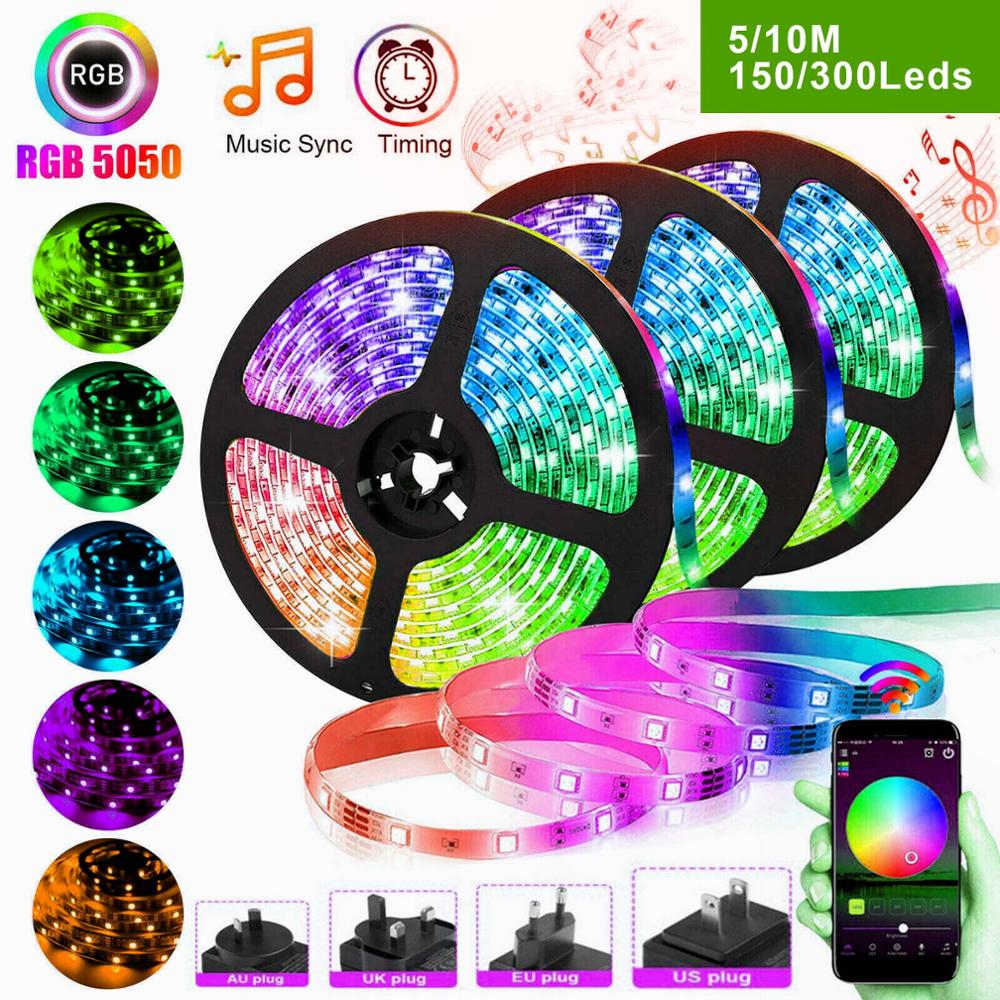 Riri won RGB LED Strip Light Waterproof SMD5050 2835 5m 10M Leds tape diode Controller DC 12V Power supply AC110V 220V set