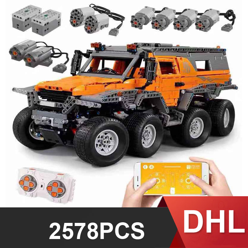 DHL 13088 Siberia Technic Series Off-road Vehicle RC Avtoros Shaman MOC-5630 Car Model Building Blocks Educational Bricks Toys