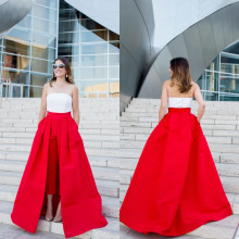 Jumpsuit Party-Dress Evening-Dresses Sleeveless with Long Detachable Train Red Pants