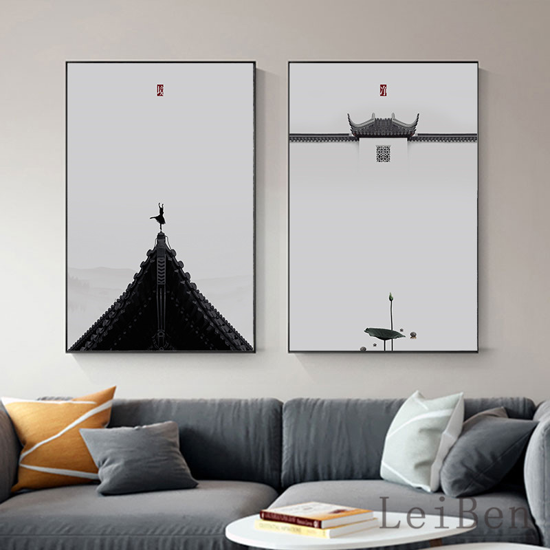 >New Chinese <font><b>Style</b></font> Minimalist Zen Traditional <font><b>Style</b></font> Mood Concept White Wall For Office Study Living Room <font><b>Home</b></font> Decoration painting
