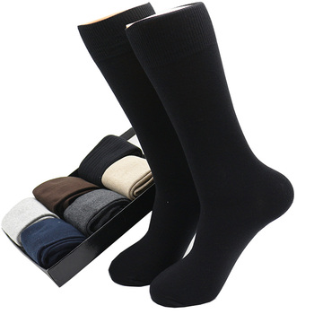 Men's Solid Color Large Business Harajuku Winter Fashion Pure Cotton Deodorant Casual Long Black Socks (SIZE 42-48) - discount item  50% OFF Men's Socks