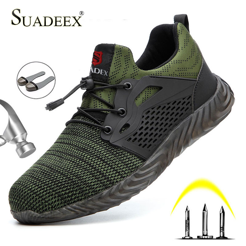 SUASEEX Work Safety Shoes Men Anti-slippery Work Boots Women Steel Cap Boots Puncture Proof Anti-smashing Indestructiable Shoes