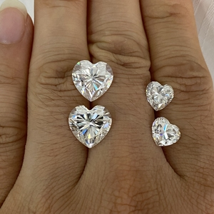 Laboratoire créé diamant moissanite pierre coeur coupe 2.5cts 8.5x8.5mm D couleur VVS1 moissanite lâche pierre anneau boucle d'oreille