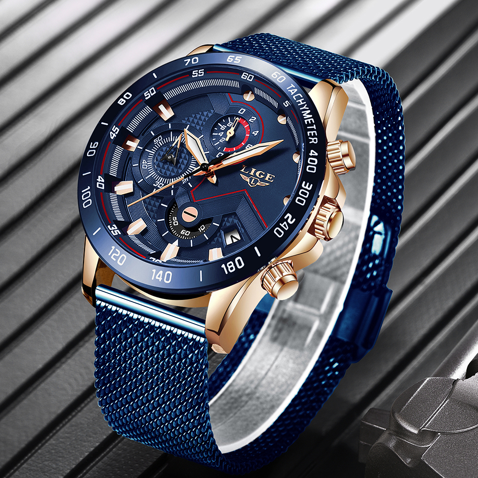 H3294f8fb7dc14bb7bfa4a3b7520966eaK 2019 New LIGE Blue Casual Mesh Belt Fashion Quartz Gold Watch Mens Watches Top Brand Luxury Waterproof Clock Relogio Masculino