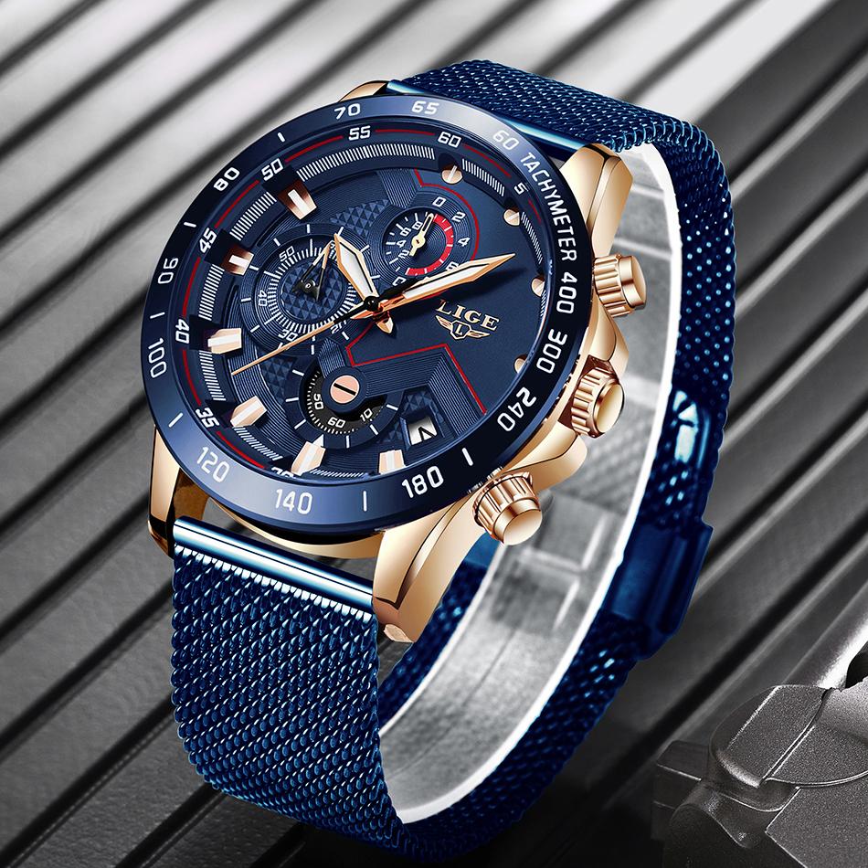 LIGE azul Casual malla Correa moda cuarzo oro reloj para hombre relojes marca superior reloj impermeable de lujo 4