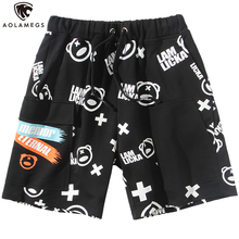 Aolamegs Men Casual Shorts Cute Picture Print Cargo