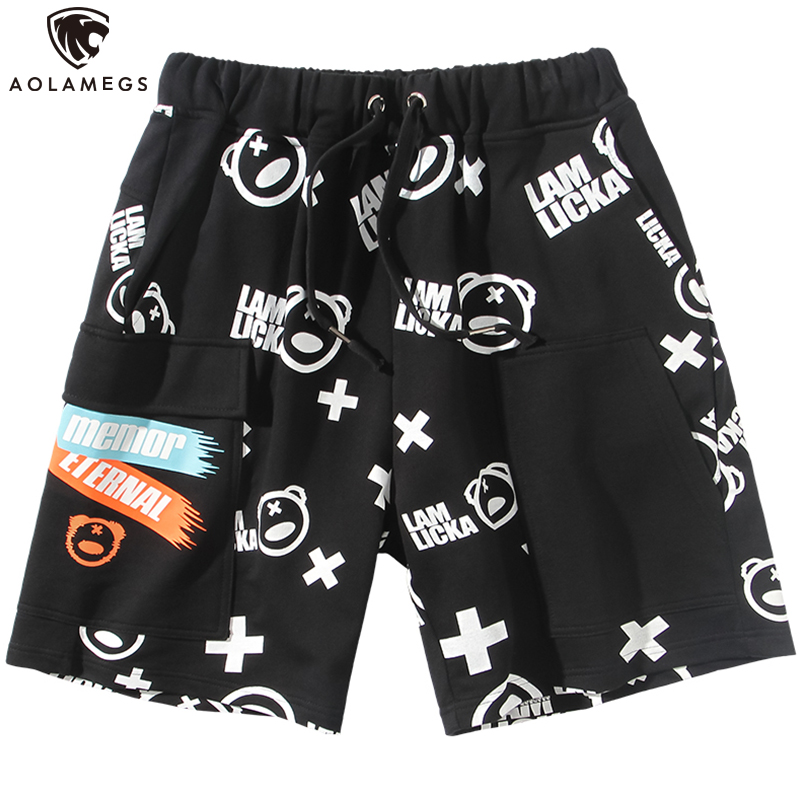 Aolamegs Men Casual Shorts Cute Picture Print Cargo Shorts Elastic Waist Multi-Pocket Shorts Men Baggy Fashion Jogger Streetwear