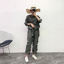 Plus Size Pant Suits Autumn 2019 NEW Elastic Loose Miyake Pleated Solid Color Round Neck T Shirt Top + Straight Pants 2 PCS Set plus size round neck cut out t shirt