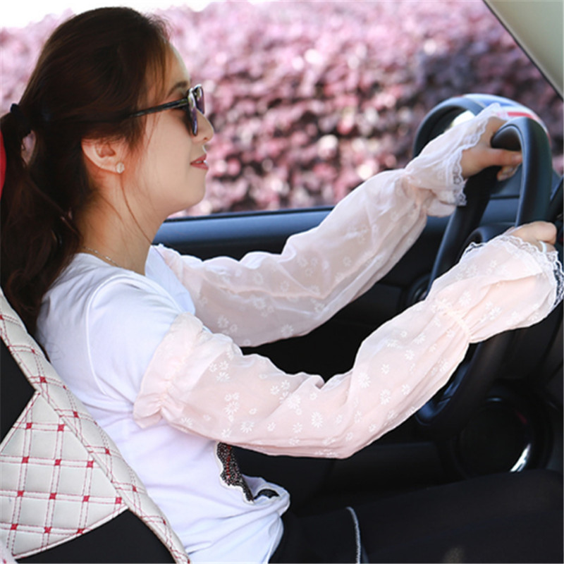 1 Pair Female UV Sunscreen Car Driving Arm Warmers Cuff Hand Protection Women Fingerless Lace Floral Long Arm Sleeves