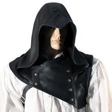 Капот красный Outlaw капот шляпа мужская средневековый Ларп кожа Арчер убийца костюм броня Хэллоуин головной убор шаль мантия накидка для взрослых