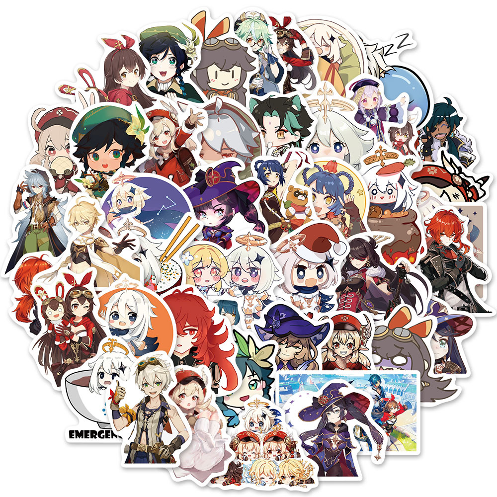 Details about  /50PC Genshin Impact Stickers Luggage Laptop Skateboard Helmet Phone DIY Decals