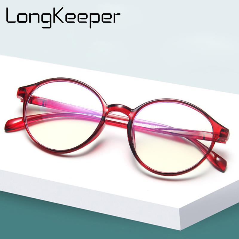 LongKeeper Fashion Glasses Frame Women Ultralight Round Optical Eyeglasses Men Vintage Transparent Spectacles Oculos De Grau