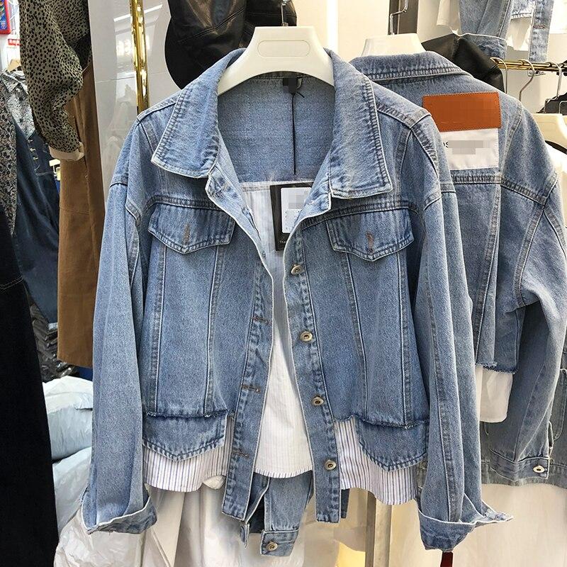 Корейская мода, стильные осенние укороченный жакет Для женщин 2020 сшитые Светильник цвета джинсовые штаны с имитацией двух отдельных издели...