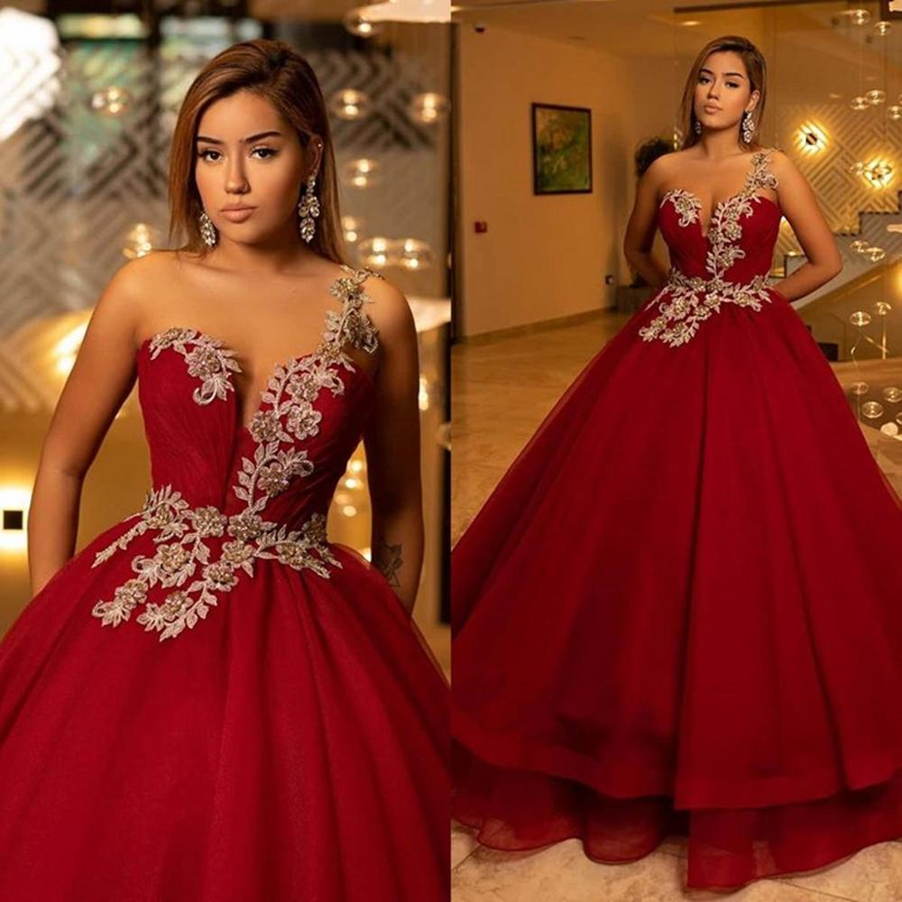 New Burgundy Ball Gown Quinceanera Dresses One Shoulder Appliques Beads Evening Gowns Sweep Train Formal Dress Evening Gowns