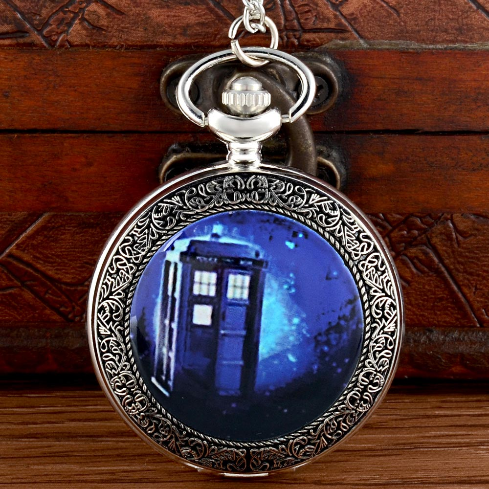 Classic Doctor Who Tardis Silver Pocket Watch Vintage Men Women Pendant Necklace Quartz Watch Gift