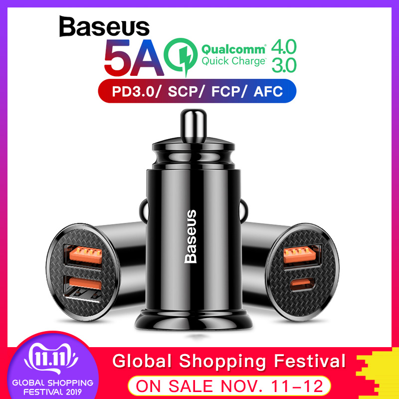 Baseus 30W Car Charger with Type C PD Fast Charger For iPhone 11 Pro Max Quick Charge 4.0 3.0 SCP AFC For HUAWEI Xiaomi Samsung-in Car Chargers from Cellphones & Telecommunications