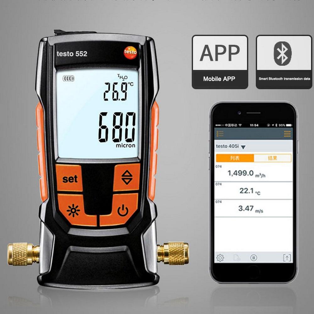 Professional Testo 552  Heat Pump Measuring Pressure Gauge Manometers Digital Vacuum Gauge With Bluetooth For Refrigerant System