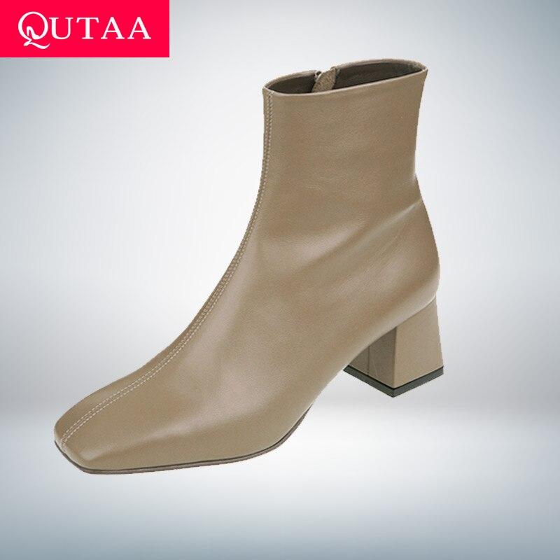 QUTAA 2020 nouveau automne hiver en cuir véritable rétro bout carré fermeture éclair bottines talon carré tout Match femmes chaussures taille 34-39