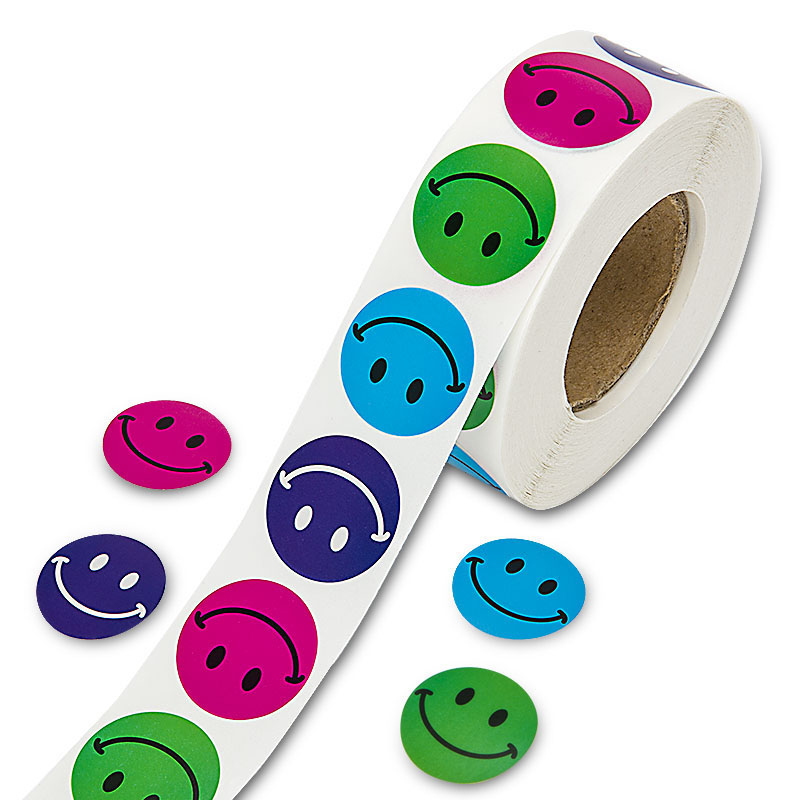 500pcs/roll Colorful Smiley Face Sticker For Kids Toys Decoration Teacher Reward Sticker For Children Cartoon Smile Face