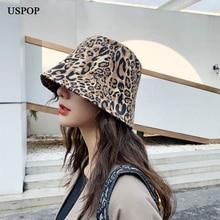 USPOP Women leopard print hats spring bucket summer sun female casual flat