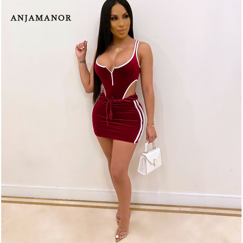ANJAMANOR Sexy Two Piece Set Short Skirt And Top Bodysuit Summer Clothes Women 2pcs Festival Twinset Velvet Club Outfits D12AC36