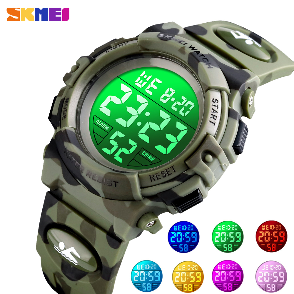 <font><b>SKMEI</b></font> Military Colorful Lights Kids Watches Sport Children Digital Clock Stopwatch For Boys Girls Wristwatch relogio infantil image