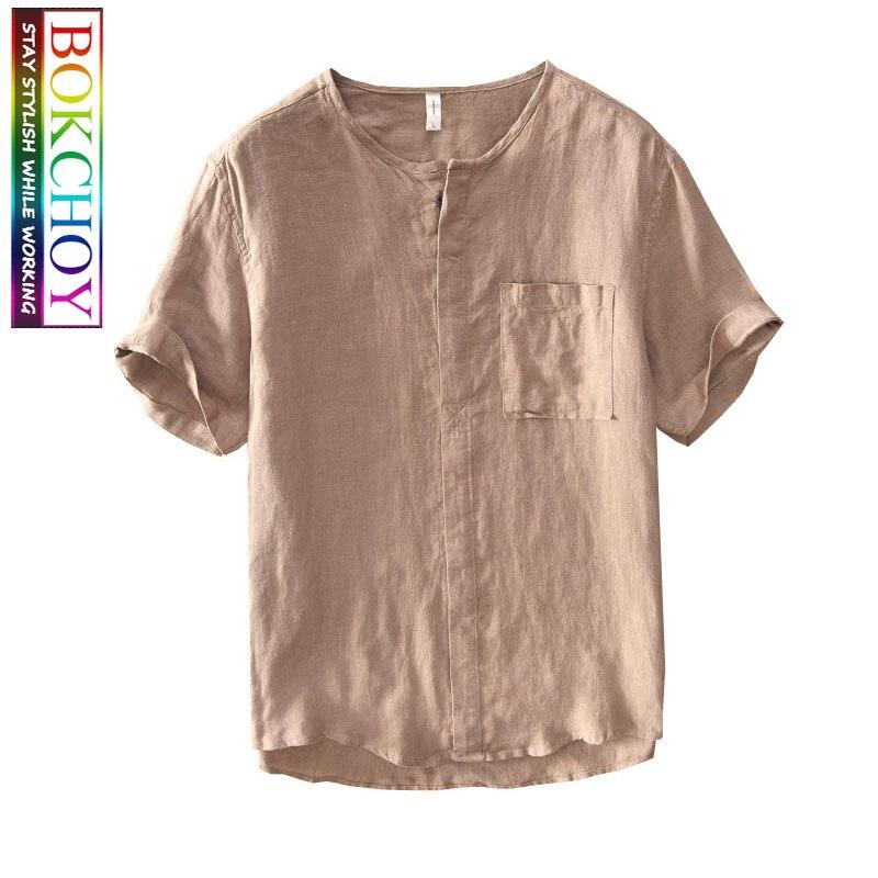 Men Linen Shirts Thin Vintage Color Men Shirt  Casual Shirts Breathable Comfortable Linen