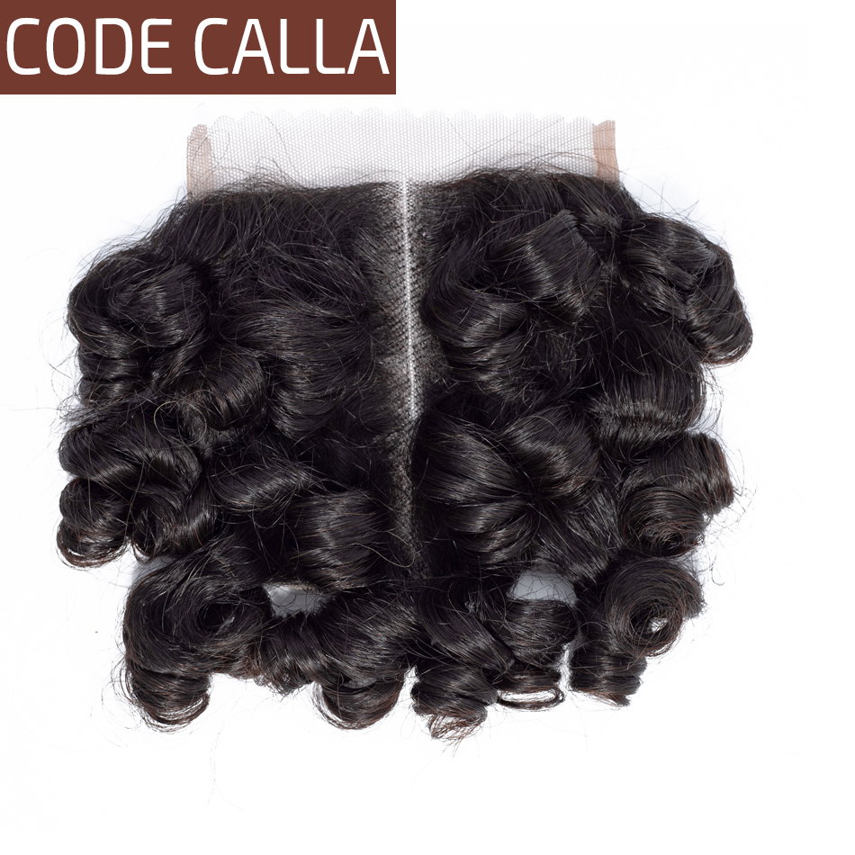 Code Calla Bouncy Curly Hair 4*4 Lace Closure Malaysian Remy Human Hair Weave Extensions Natural Black Color For African Women