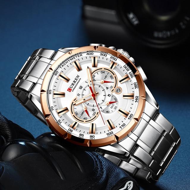 Sports Watches Men's Luxury Brand CURREN Stainless Steel Quartz Watch Chronograph Date Wristwatch Fashion Business Male Clock 5