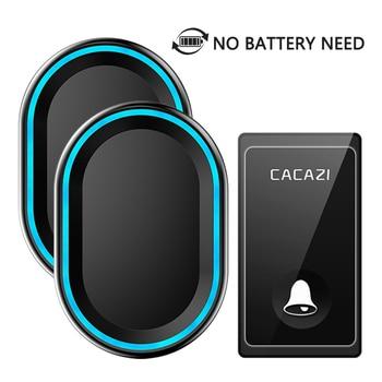 CACAZI New No Battery Need Wireless Doorbell 58 Chimes EU/US/UK Plug Self-Powered Waterproof Door bell Intelligent LED Ring Bell