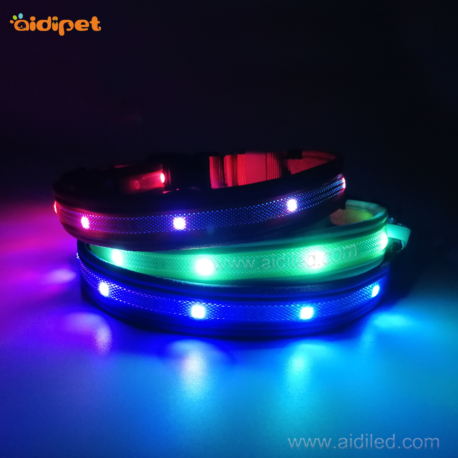Place Of Origin Supply Of Goods LED Pet Collar Grb Horse Race Lamp Colorful Dog Neck Ring USB Charging Neck Ring Luminous Collar