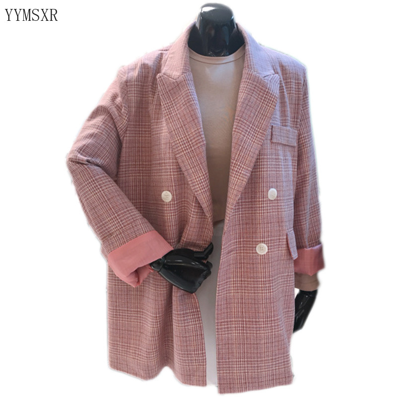 Elegant high-quality women's blazer and jacket top 2019 Autumn loose double-breasted ladies small suit Mid-length jacket Female