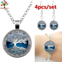 Necklace Bracelet Earrings For Women Tree Of Life Cabochon Pendant Set Chain Jewelry Set Brincos Pendientes Earing Oorbellen lucky clover glass cabochon jewelry set women fashion crescent moon chain necklace earrings bracelet set sg