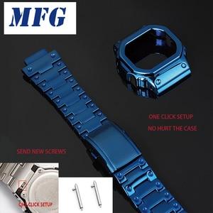 Image 4 - MFGนาฬิกาDW5600 WatchBandสายคล้องโลหะสร้อยข้อมือสแตนเลสสตีลเข็มขัดอุปกรณ์เสริม