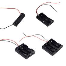 Czarne plastikowe 1 2 3 4 gniazda rozmiar AA obudowa do przechowywania baterii uchwyt skrzynki z przewody doprowadzające tanie tanio VBNM Przechowywanie akumulatora box RK-L-3006 Plastic + Metal Black
