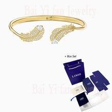 Женский браслет с перьями swa модный элегантный из желтого золота