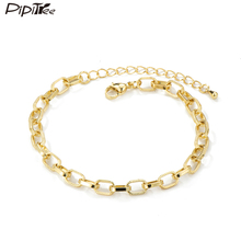 Pipitree Vintage Copper Wide Chain Bracelets & Bangles for Women Men Street Style Fashion