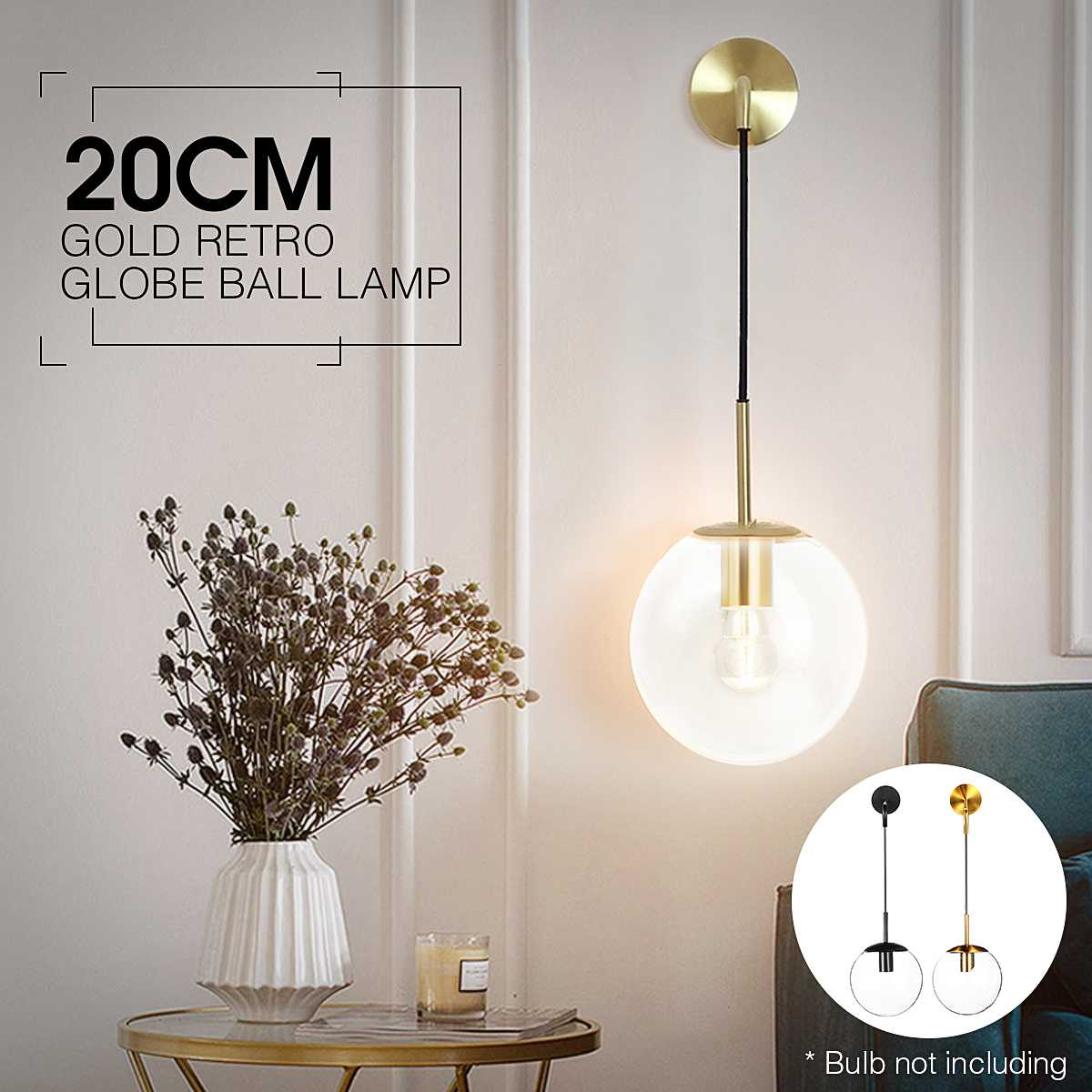 Nordic Modern Clear Glass Globe Ball Lamp Indoor Wall Lamp LED Hanging Lamp Home Loft Industrial Decor Luminaire