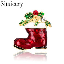 Sitaicery Rhinestone Boots Brooches Pins For Women Cute Red Color Christmas Shoes Brooch Coat Backpack Broches Fashion Jewelry