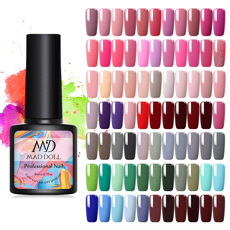 MAD DOLL 8ml Gel Nail Polish Pure Paint Semi Permanent Nail Gel Lacquer Soak Off UV Gel Varnish Base Coat No Wipe Top Coat