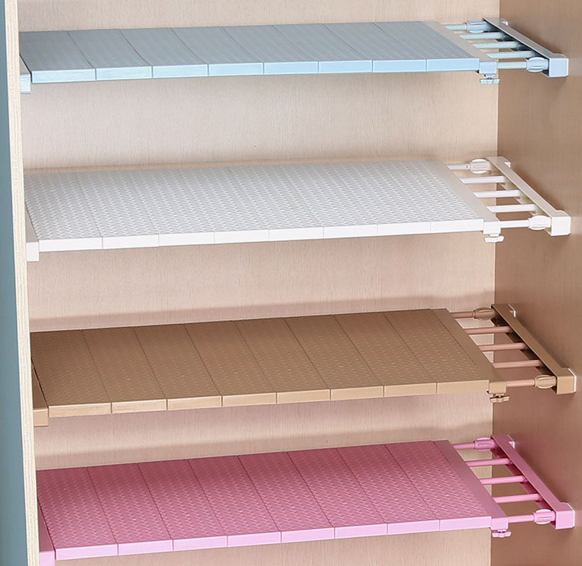 Adjustable Closet Organizer Storage Shelf Wall Mounted Kitchen Rack Space 1PC 4 Colors