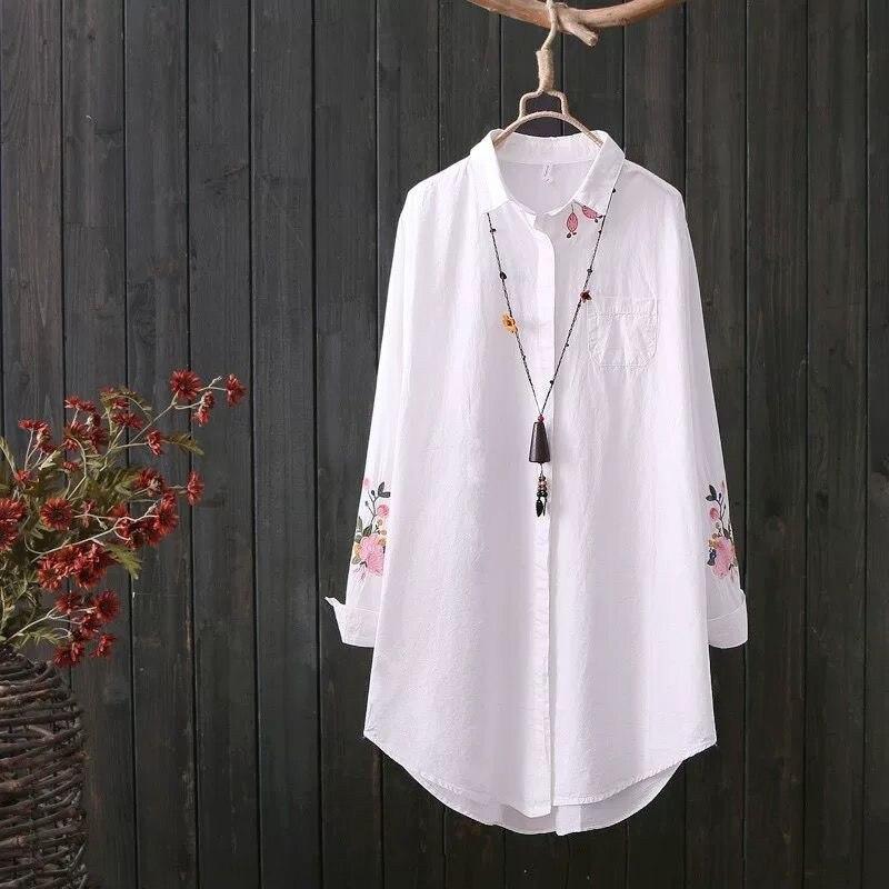 2019 nouveau blanc chemise tenue décontracté bouton haut col rabattu manches longues coton Blouse broderie Feminina offre spéciale
