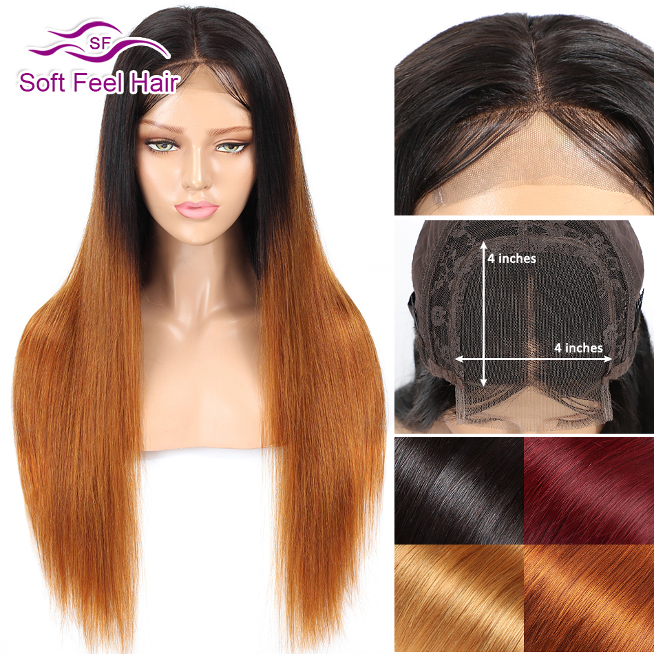 Soft Feel Hair 4x4 Closure Wig Ombre Human Hair Wigs For Women Black Burgundy Blonde Lace Closure Wig Remy Peruvian Straight Wig