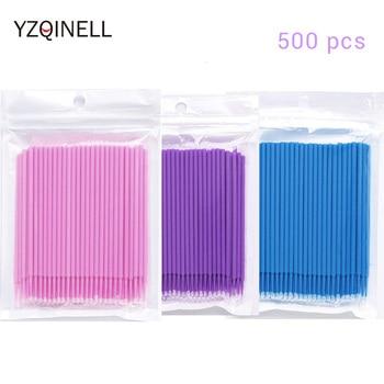 500 unids/lote mini cepillos desechables cepillo de limpieza de pegamento de pestañas microcepillo para herramientas de extensión de pestañas