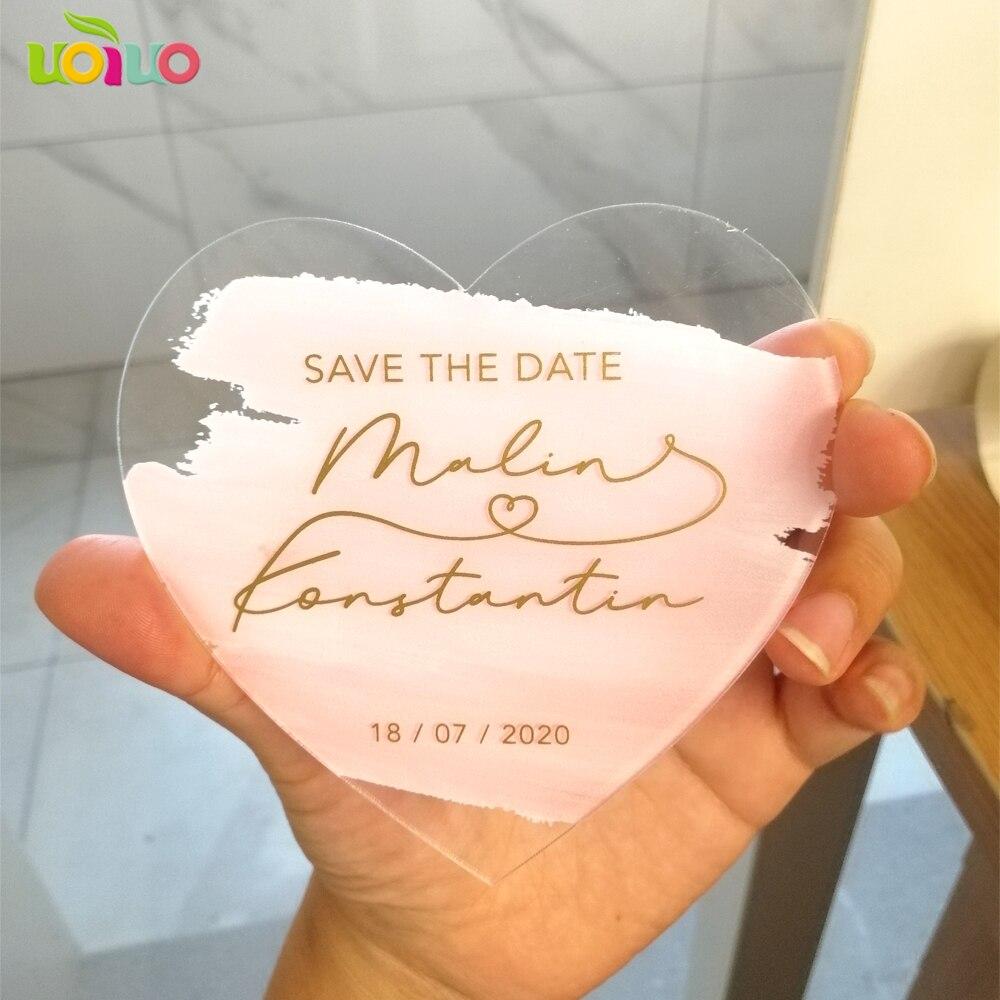 ที่กำหนดเองการพิมพ์หัวใจอะคริลิคการ์ดงานแต่งงานบันทึกวันที่การ์ด,บัตรเชิญ