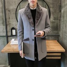 2021 Brand clothing Men's woolen jackets/Male Fashion slim fit leisure winter keep warm Long Woolen cloth Coats/Plus size S-5XL