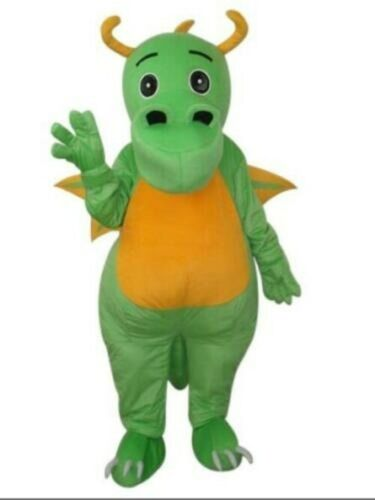 Cartoon Cosplay Green Dinosaur Dragon Big Nose Mascot Costume Hallowen Birthday Party Game Fancy Dress Adults Parade Advertising