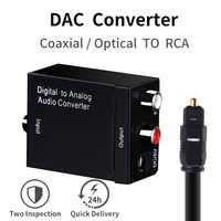 Digital to Analog Audio Converter DAC with Optical Coaxial Toslink Input to Analog 3.5mm RCA Output Audio Decoder for TV Speaker