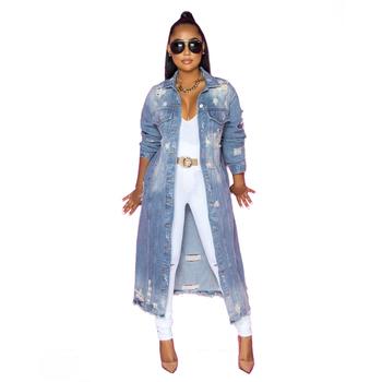 2021 nowy przyjeżdża moda Sexy Hole bawełna długa kurtka dżinsowa trencz Cardigan Jeans Cape kobiety Plus rozmiar długi płaszcz z rękawami Ddlg tanie i dobre opinie zomight Stałe Z KIESZENIAMI long Do spódnicy Wykładany kołnierzyk POLIESTER COTTON Pełne REGULAR Cienkie CN (pochodzenie)